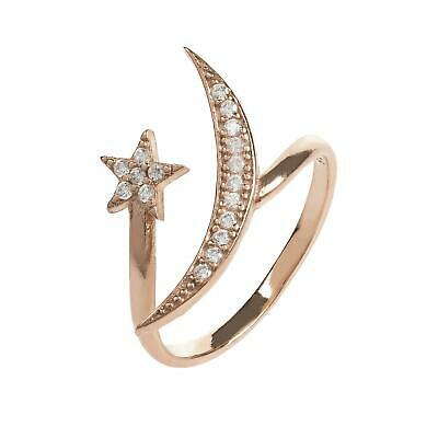 Latelita Bague Midi Empilage Lune Stars Argent Sterling Rose or Étoile Zircone