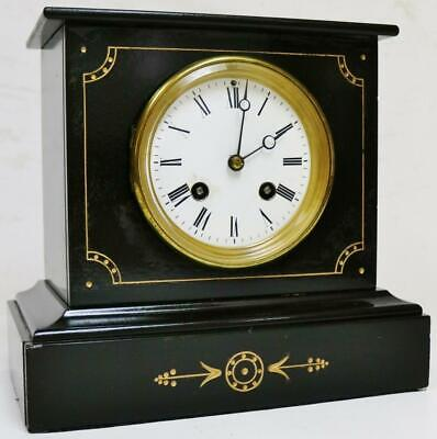 Antique French 8 Day Slate Marble Bell Striking Mantel Clock Engraved Decoration