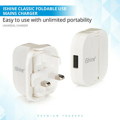 iShne CE Approved 3 Pin Wall Mains Plug Adaptor Fast Folding Charger Single 1USB