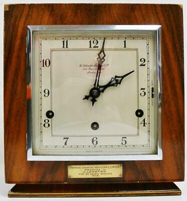 Antique Walnut English Art Deco Westminster Chime Musical Mantel Clock C1930
