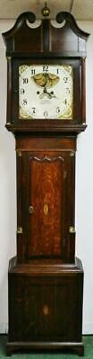 Antique English 8 Day Bell Striking Moonphase Cottage Longcase Grandfather Clock