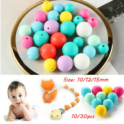 Food Grade Round BPA-Free Silicone Chew Beads Mom DIY Necklace Baby Teether