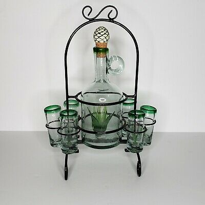Vintage hand Blown Glass agave Tequila Decanter and glass set w/holder
