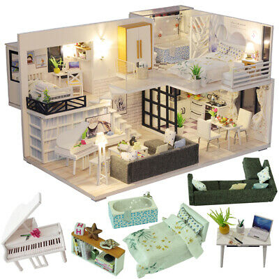 Wooden Dolls House DIY Miniature Doll House Furniture included as Pictured New
