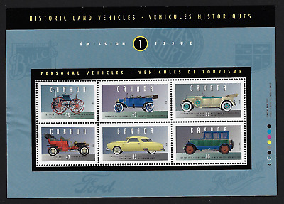 Canada Stamps — Souvenir sheet of 6 — Historic Land Vehicles - 1 — #1490 — MNH