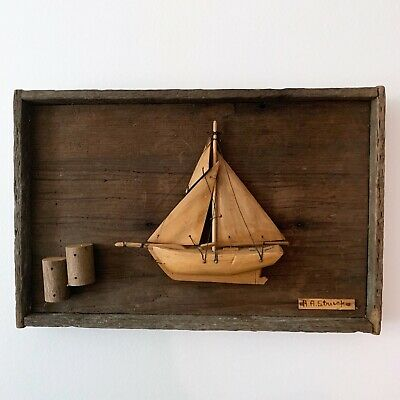 Handmade Wooden Ship Wood Sailboat Diorama Folk Art Framed Wall Decor Handcarved