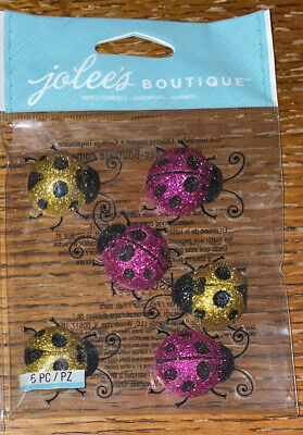 Jolees Ladybugs Repeat Pink//Gold Glitter Ladybugs Large 6 Pieces NIP