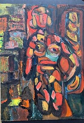 Vintage 1960's Mid Century Modernist Abstract Nude Woman Painting On Board Art