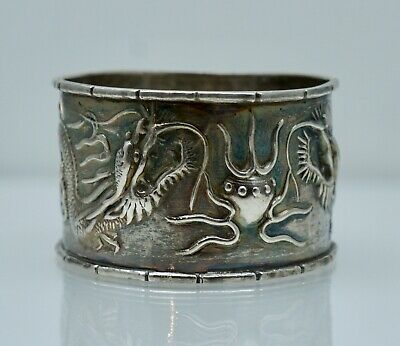 Chinese Export Dragon Sterling Silver Fish Antique Napkin Ring Vintage Bamboo