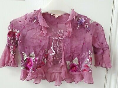 Monsoon Silk Sheer Purple Pink Frilly Beaded Occasion Shrug Cardi Age 3-4