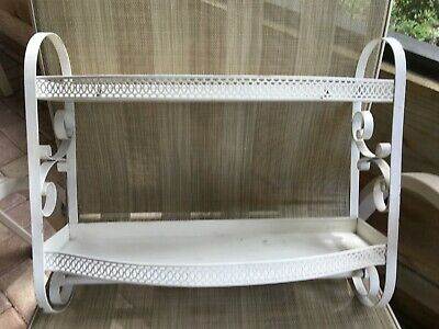 Mid-Century Metal Ornate Shelves With Hanging Scroll Bar 50's 60's