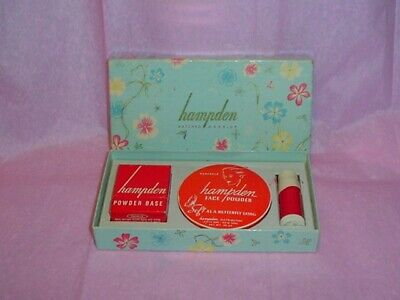 Vintage HAMPDEN Matched Make-up Set COMPACT Powder Box Lipstick SEALED UNUSED