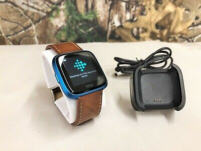 Fitbit Versa Lite Edition Smartwatch + Leather Band - (Blue)