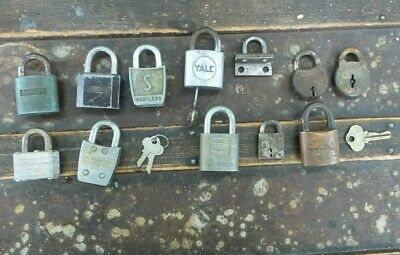 Lot of 11 Antique Vintage Rustic Padlock Locks YALE Slaymaker Wilson Bohannan