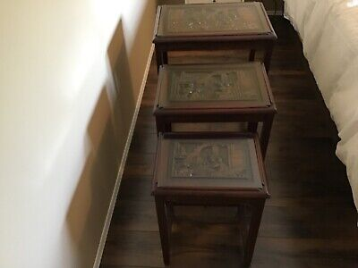 Antique Hand Carved Nesting Tables- Rosewood
