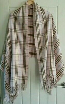 Fab Burberry Iconic Large Pink Nova Check Lambswool Scarf Cape Poncho Wrap Shawl