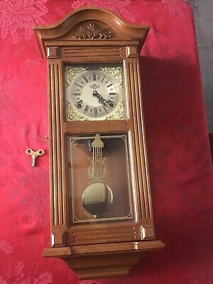 "Beautiful D&A Wall Clock with Clean Cabinet & Key - Chimes 25"" X 11"""