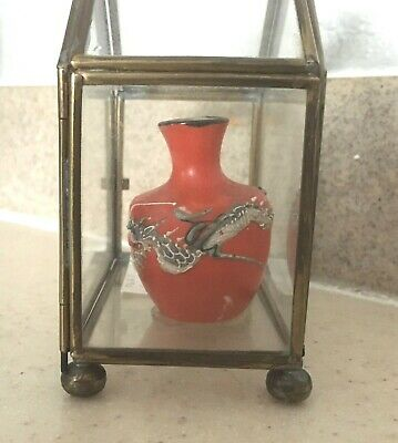 """VINTAGE Antique Miniature Dragons Oriental Vase 2"""" tall with glass case"""