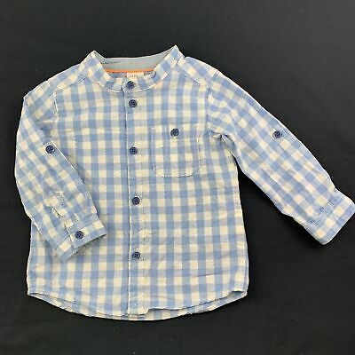 Boys size 0, H&M, blue & white check cotton long sleeve shirt, GUC