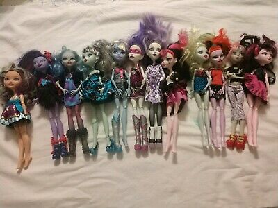Lot of 11 Monster High Dolls With  Clothes (some shoes) 1 Ever After High Doll