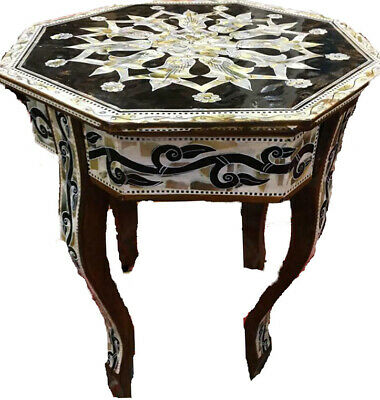 """Awesome Deluxe Moroccan Handmade Side Table Inlaid Mother of Pearl -16"""""""