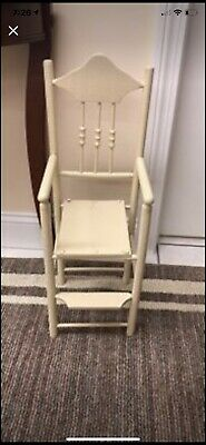 ANTIQUE DOLL HIGH CHAIR w/FOOT REST SPOOL TURNINGS BEEHIVE FINIALS