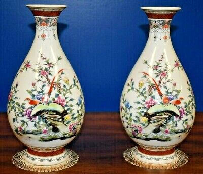 "Pair 11"" Chinese Pear-Shaped Porcelain Vases-Asian Oriental Japan Cloisonne"