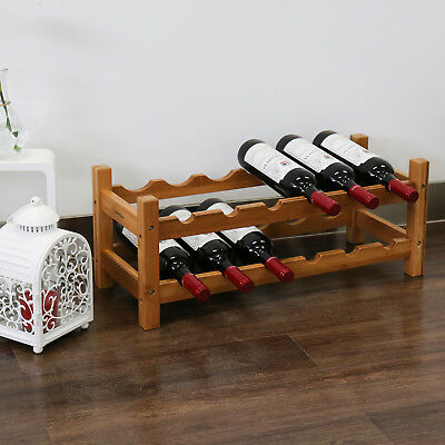 12 Bottle 2 Tire Bamboo Wine Rack Stackable Stand Home Bar Shelf Storage Holder
