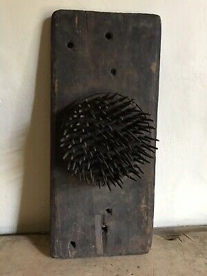 Early Antique Hand Carved Wooden & Iron Flax Hetchel Comb PATINA AAFA