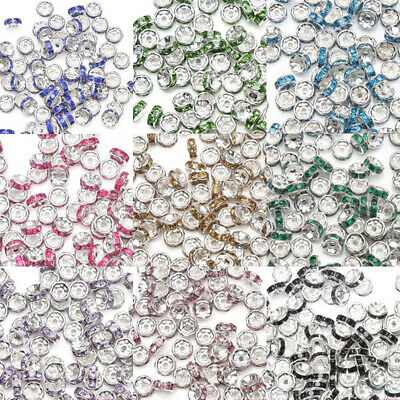 wholesale 100PCS Silver Plated Rondelle Crystal Rhinestone Beads Spacer 8mm