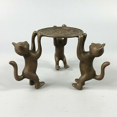 Exquisite Collectible Old Copper Handwork 3 Cats Chinese Candlestick Statue RN