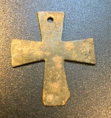 Byzantine Early Bronze Cross From Holy Land circa 600 AD COA