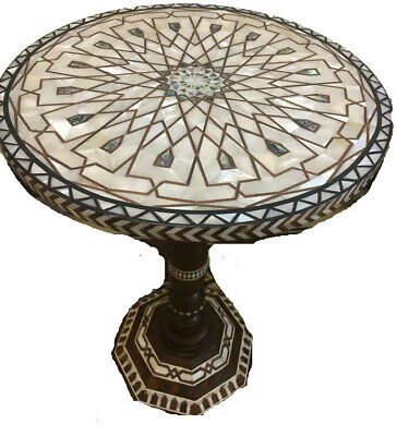 """Awesome Moroccan Coffee side wood table Handmade inlaid mother of pearl-22"""" wide"""