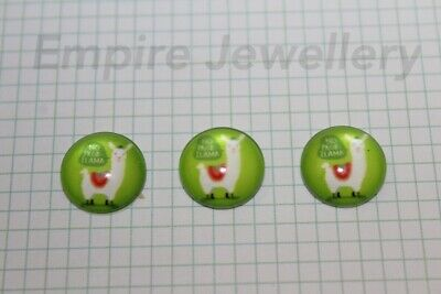 2 x No Prob Llama 12x12mm Glass Cabochons Cameo Dome Drama Alpaca South America