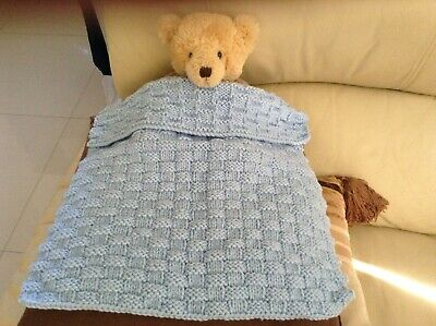 hand knitted blanket for teddy or doll