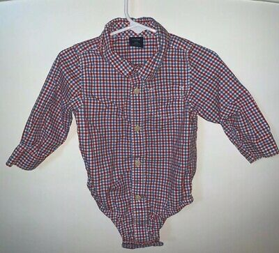 Baby Gap Boys 12-18 Months Red/Blue Long Sleeve Button Down Plaid Bodysuit/Top