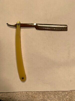 "W.R. Case & Sons Bradford, PA ""Real Red Point"" Straight Razor Yellow Handle #4B"