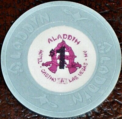 Old $1 ALADDIN Hotel Casino Poker Chip Vintage Antique House Mold Las Vegas 1989