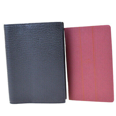 Authentic HERMES Logos Agenda Day Planner Note Cover Leather Black 01ET513