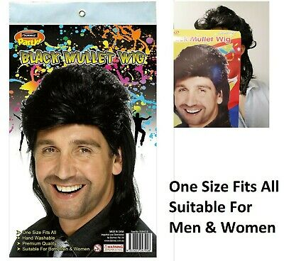 BLACK MULLET HAIR WIG  ADULT PARTY Costume MEN/ WOMEN 70s 80s ROCK BOGAN FANCY
