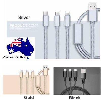 3 in 1 Multi USB Charger Charging Cable Cord For iPhone TYPE C Android Micro USB