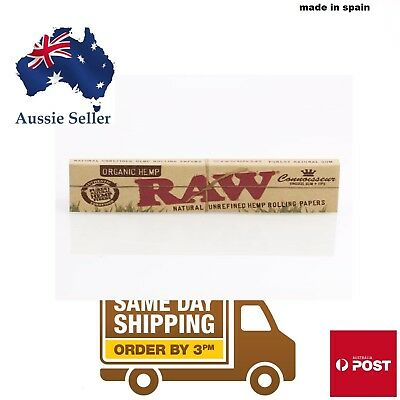 Raw Organic Hemp Connoisseur KingSize Slim Unrefined Rolling Papers +Tips3333333