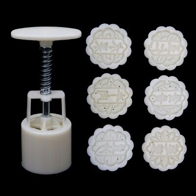 6 Stamps Lettering Moon Cake Mould DIY Round Mooncake Mold Baking Decor Tool 50g