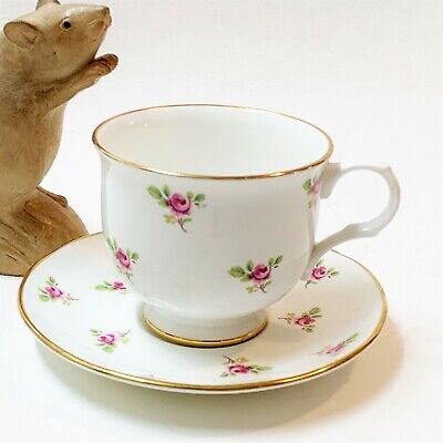 English Fine Bone China Cup & Saucer, Pink Rose Buds, by Signature