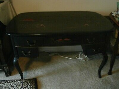 Rare Antique Chinese Desk With Gorgeous Inlaid Paintingon Top And The Side