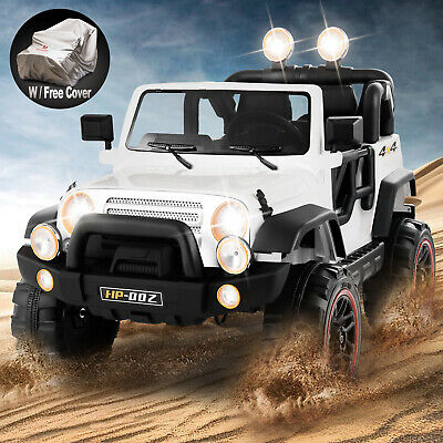12V White Kids Ride on Car Truck Toys Electric 3 Speeds MP3 LED w/Remote Control