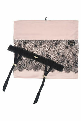 Dita Von Teese Suspender & Lingerie Wash Bag Set Pink Black M-L Garter Belt Lace
