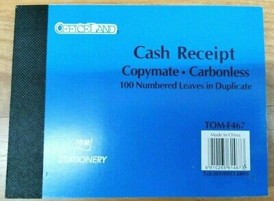Cash Receipt Book Copymate Carbonless 100 Numbered Leaves In Duplicate