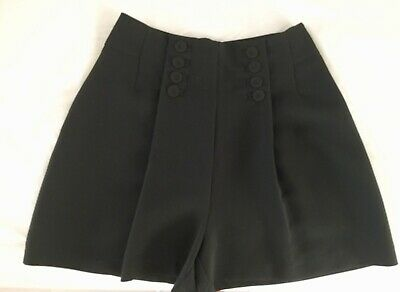 Retro 1940'S 1950'S Vintage Pin Up High Waisted Tailored Button Culottes Shorts