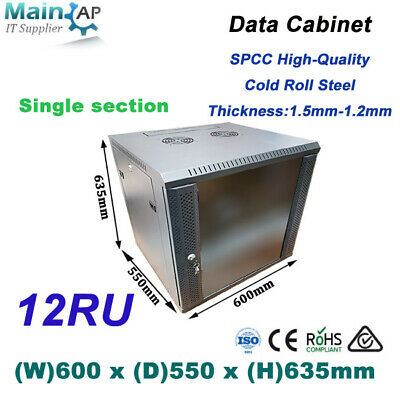 12RU 12U 600x550mm Wall Mount Server Cabinet Network Data Box wich cable combo